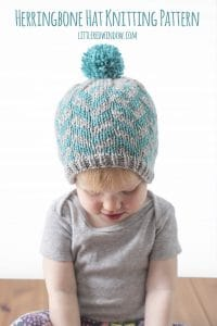 Fair Isle Herringbone Hat Knitting Pattern for newborns, babies and toddlers! | littleredwindow.com