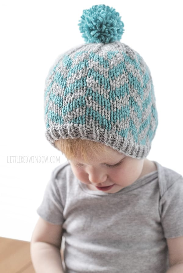 Fair Isle Herringbone Hat Knitting Pattern for newborns, babies and toddlers! | littleredwindow.com