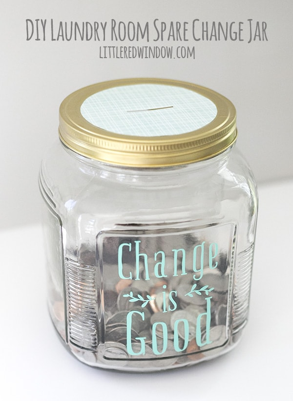 DIY Fun Laundry Room Change Jar, a cute project to corral all that spare change! | littleredwindow.com