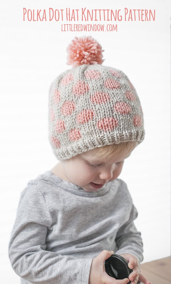 Fair Isle Polka Dot Hat Knitting Pattern for newborns, babies and toddlers!   littleredwindow.com
