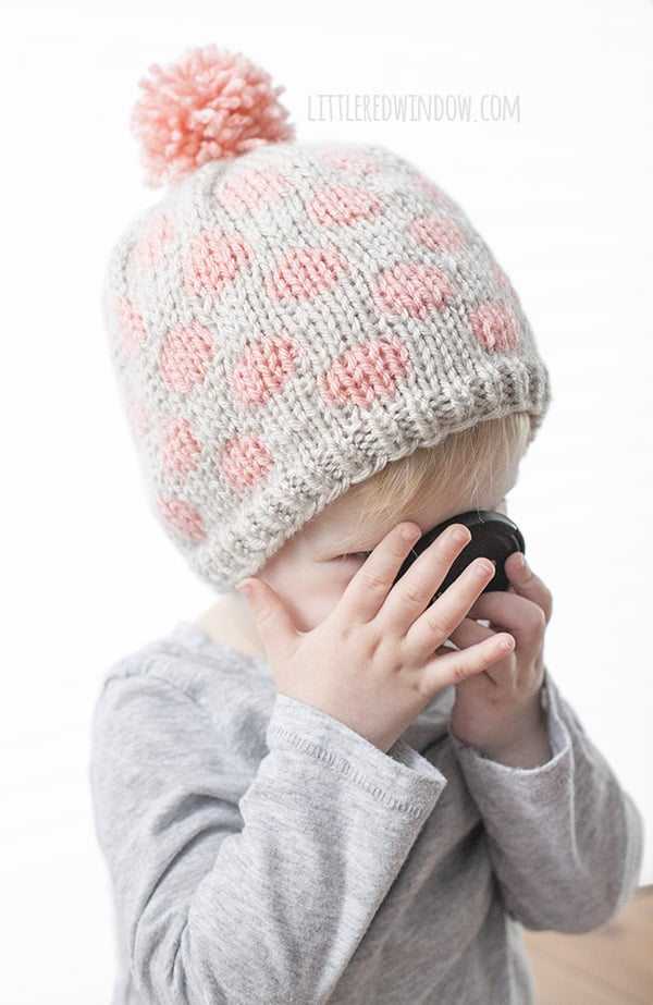 Fair Isle Polka Dot Hat Knitting Pattern for newborns, babies and toddlers! | littleredwindow.com