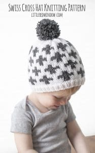Swiss Cross Hat Geometric Fair Isle Knitting Pattern for newborns, babies and toddlers! | littleredwindow.com