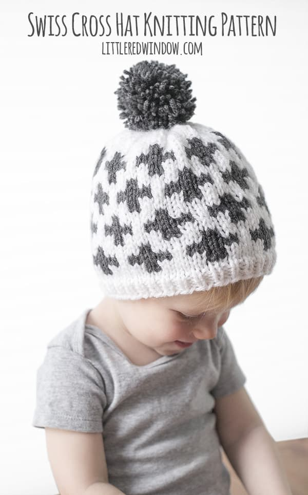 Swiss Cross Hat Geometric Fair Isle Knitting Pattern for newborns, babies and toddlers! | littleredwindow.com