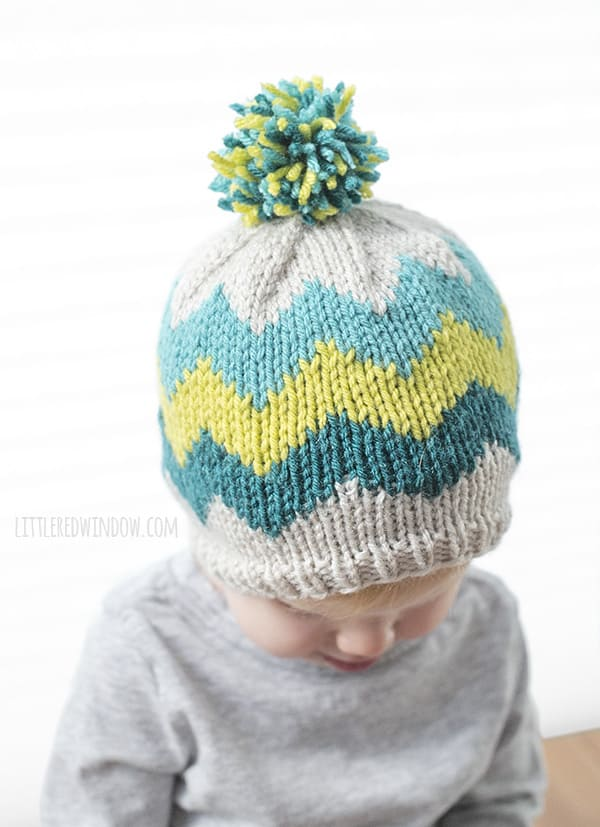 Fair Isle Zig Zag Chevron Hat Knitting Pattern for newborns, babies and toddlers! | littleredwindow.com