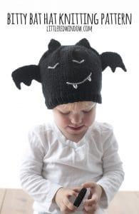 Bitty Bat Hat Knitting Pattern for newborns, babies and toddlers! | littleredwindow.com