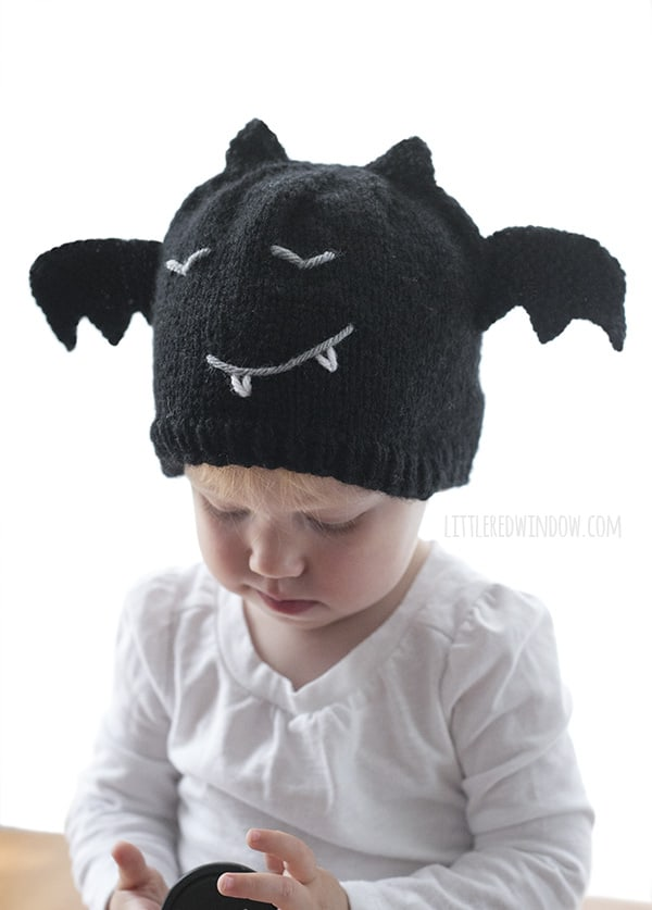 Bitty Bat Hat Knitting Pattern for newborns, babies and toddlers! | littleredwindow.com