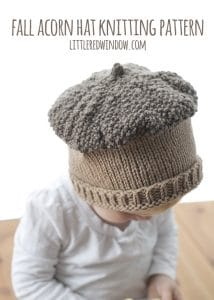 Fall Acorn Hat Knitting Pattern for newborns, babies and toddlers! ! | littleredwindow.com