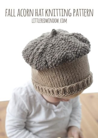 Fall Acorn Hat Knitting Pattern