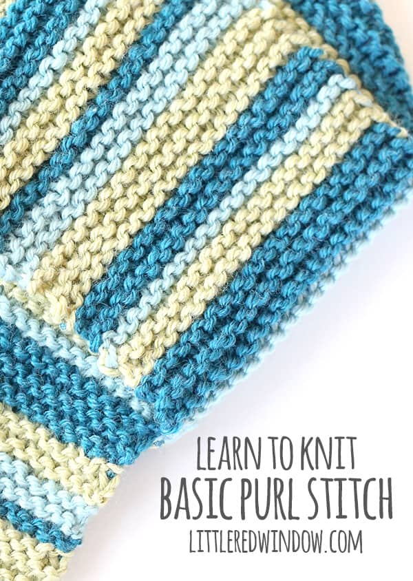 Learn To Knit Basic Purl Stitch Little Red Window