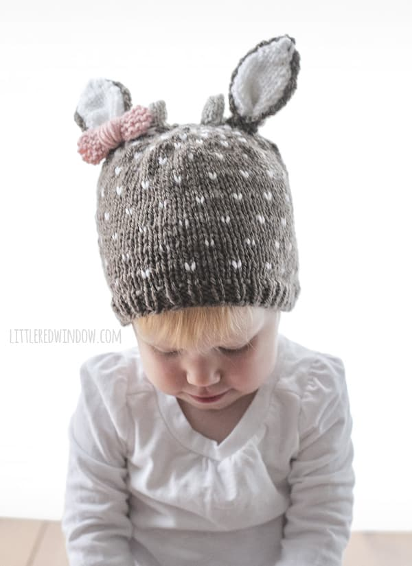 Little Deer Hat Knitting Pattern for newborns, babies and toddlers! | littleredwindow.com