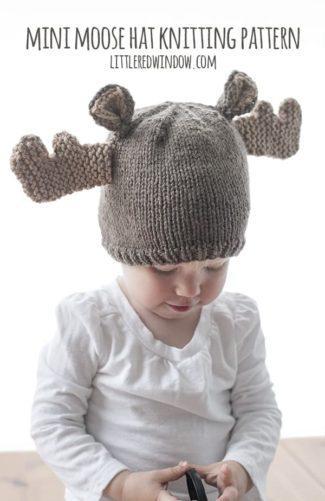 Mini Moose Hat Knitting Pattern