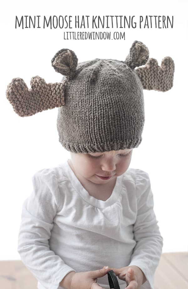 Mini Moose Hat Knitting Pattern - Little Red Window