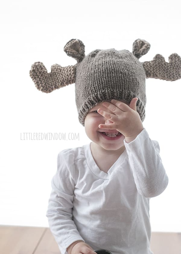 Knitting Pattern For Loose Hat : Mini Moose Hat Knitting Pattern - Little Red Window