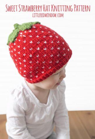 Fair Isle Sweet Strawberry Hat Knitting Pattern