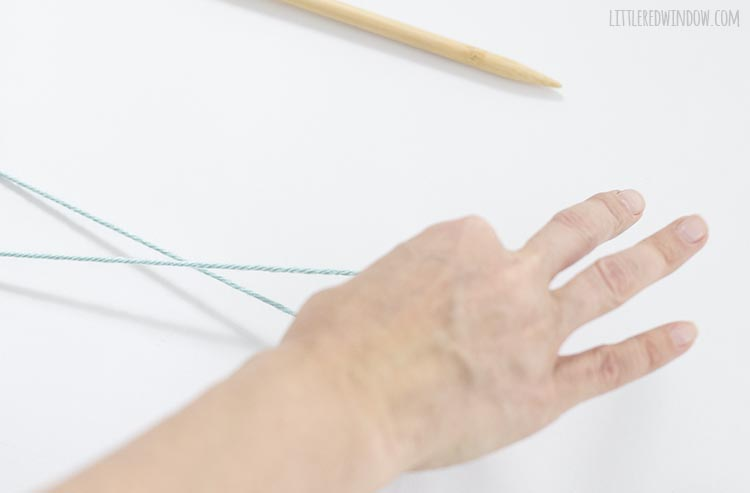 To make a slip knot, twist your hand over and then back around the yarn