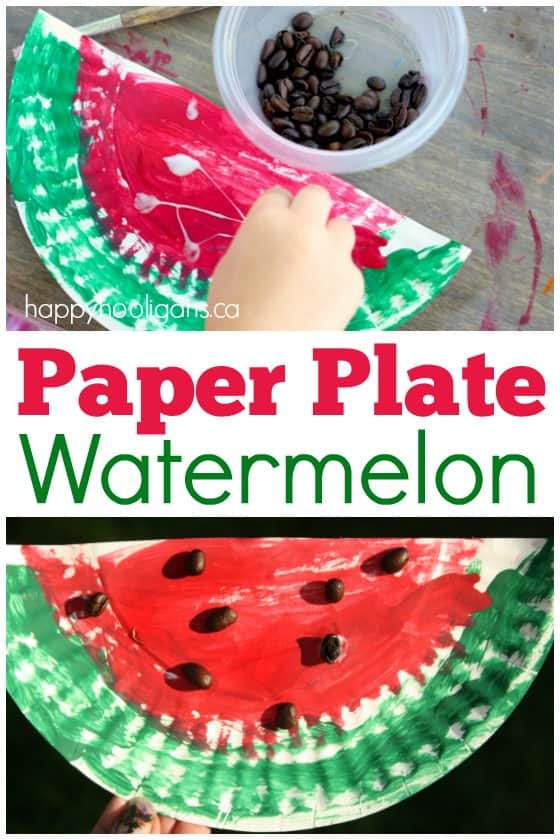 Childs had painting a half of a paper plate to look like a watermelon and gluing coffee beans on to make the seeds