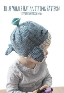 Blue Whale Hat Knitting Pattern for newborns, babies and toddlers! | littleredwindow.com