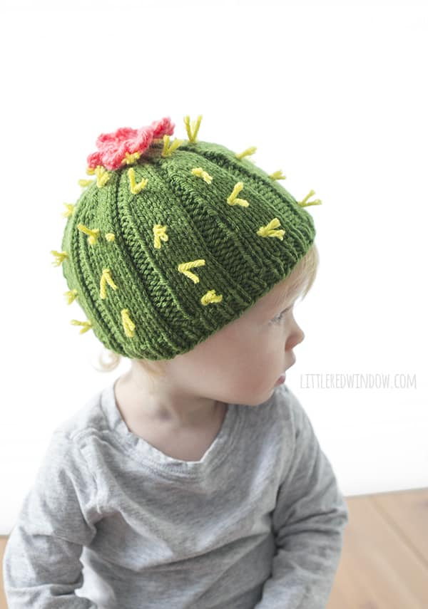 Cuddly Cactus Hat Knitting Pattern for newborns, babies and toddlers! | littleredwindow.com