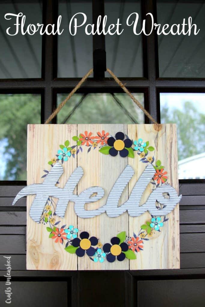 DIY Floral Pallet Door Hanger from Crafts Unleashed & Cutest DIY Door Hangers - Little Red Window