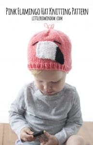 Pink Flamingo Hat Knitting Pattern for newborns, babies, and toddlers! | littleredwindow.com