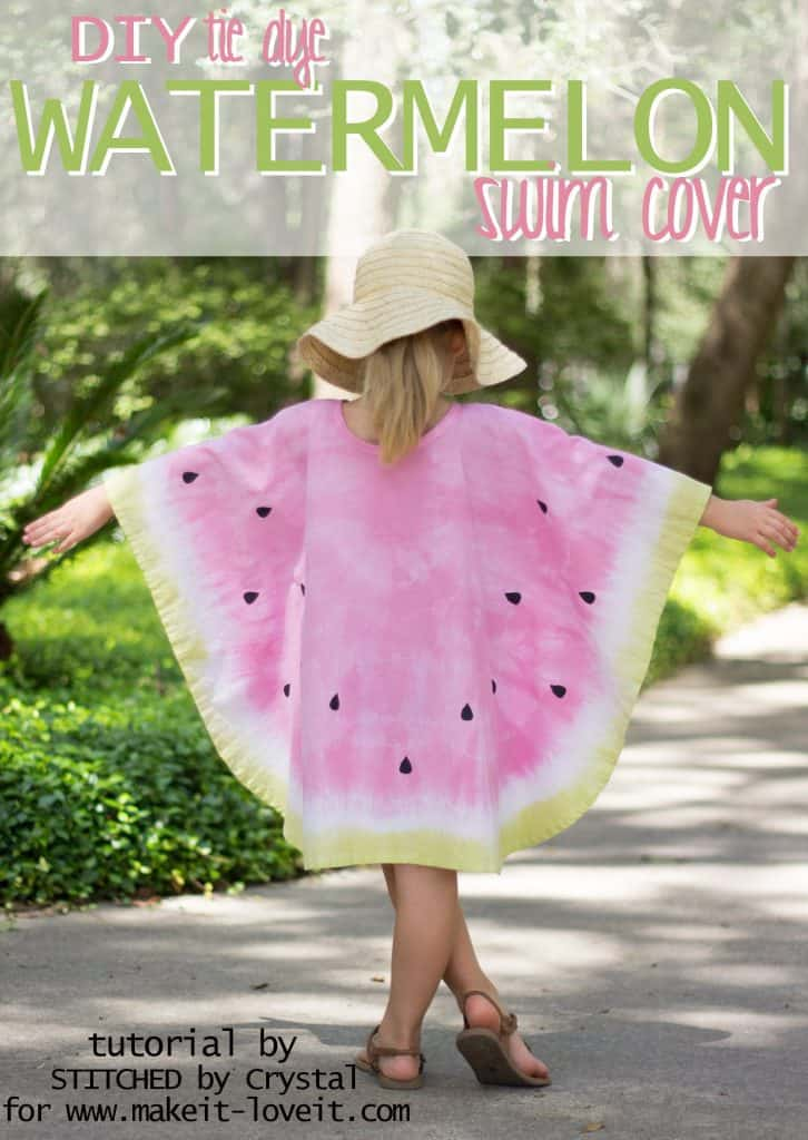 Girl standing with arms out wearing a circle poncho dyed to look like a watermelon