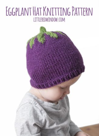 Adorable Eggplant Hat Knitting Pattern