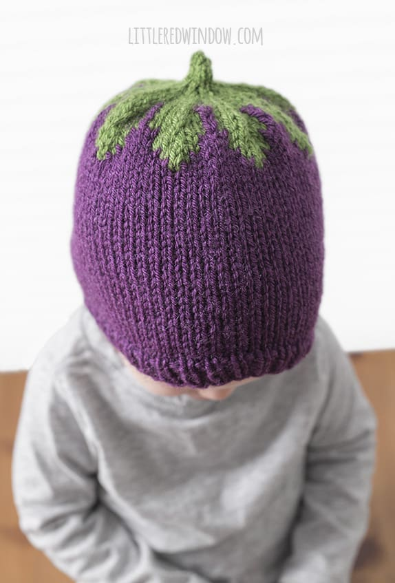 Adorable Eggplant Hat Knitting Pattern for newborns, babies and toddlers! | littleredwindow.com