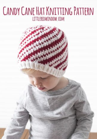 Peppermint Candy Cane Hat Knitting Pattern