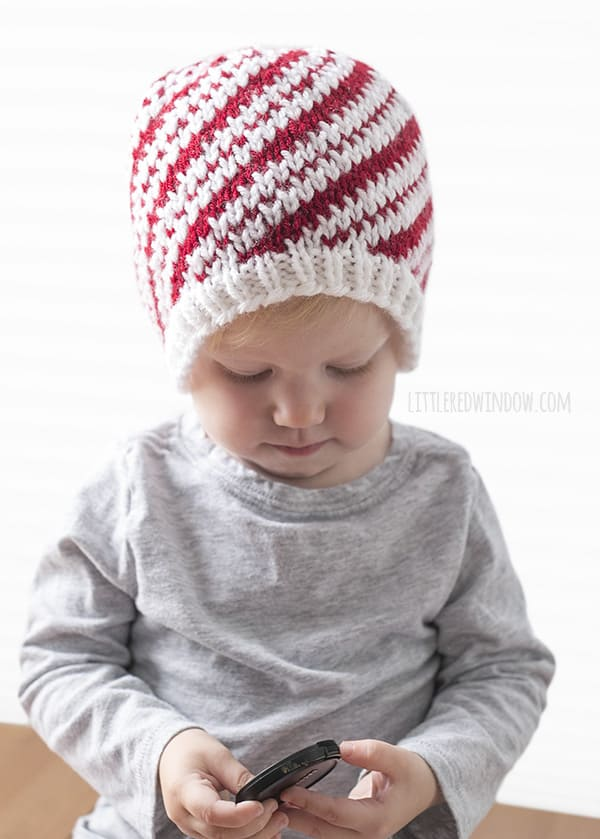 Sweet Candy Cane Hat Fair Isle Knitting Pattern for newborns, babies and toddlers! | littleredwindow.com