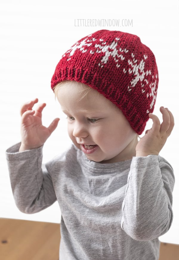 Fair Isle Snowflake Hat Knitting Pattern for newborns, babies and toddlers! | littleredwindow.com