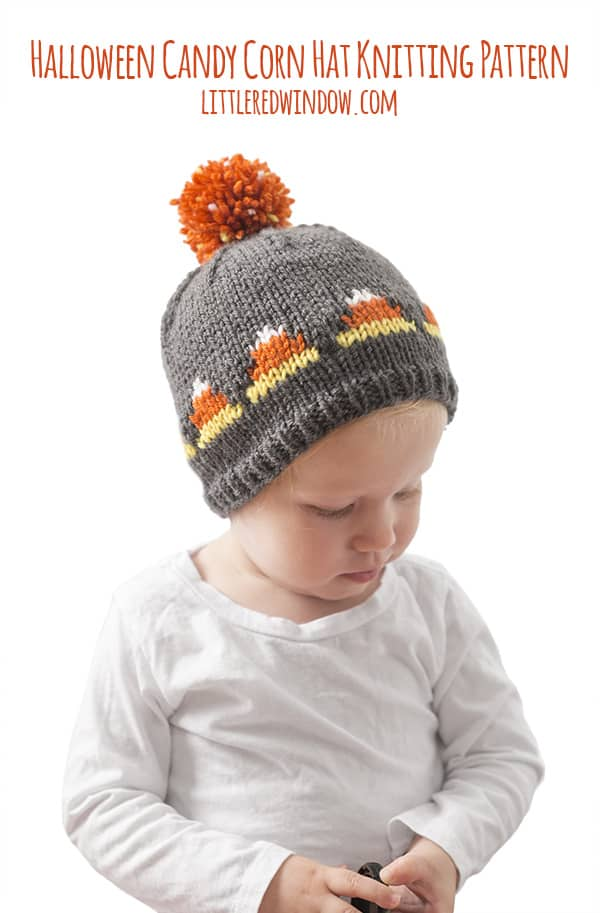 Halloween Fair Isle Candy Corn Hat Knitting Pattern for newborns, babies and toddlers! | littleredwindow.com