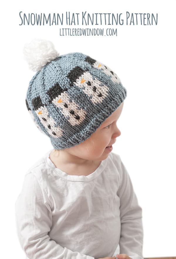 Winter Snowman Hat Knitting Pattern, a fair isle knitting pattern for newborns, babies and toddlers! | littleredwindow.com