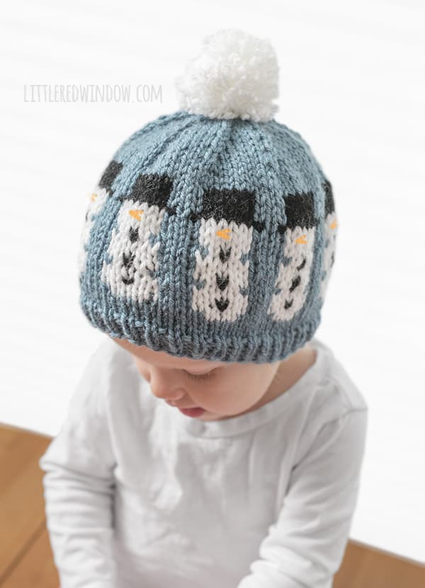 Fair Isle Winter Snowman Hat Knitting Pattern - Little Red Window