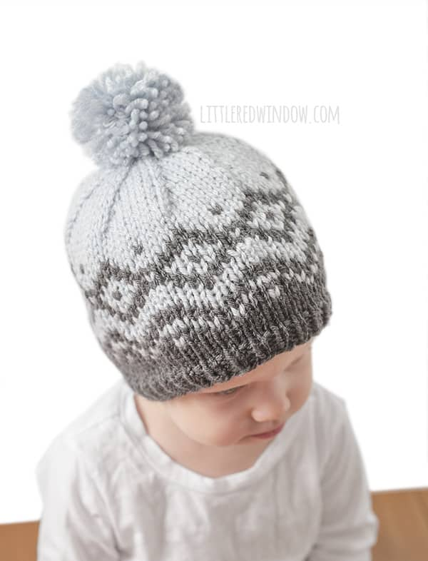 Winter Mountain Hat Fair Isle Knitting Pattern for newborns, babies and toddlers! | littleredwindow.com