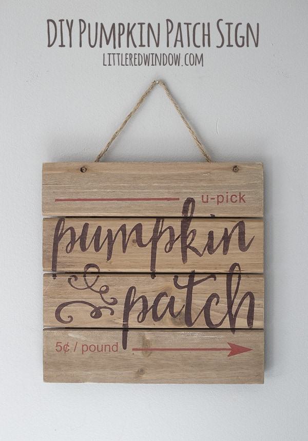 DIY Fall Pumpkin Patch sign | littleredwindow.com