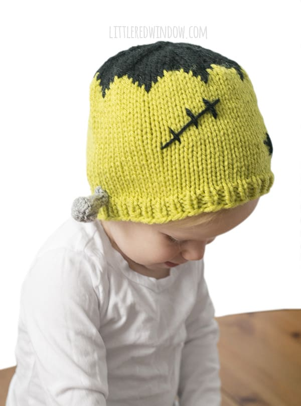 Frankenstein Hat Knitting Pattern, perfect for Halloween costumes for newborns, babies and toddlers! | littleredwindow.com