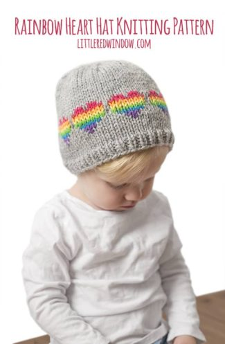 Fair Isle Rainbow Hearts Hat Knitting Pattern