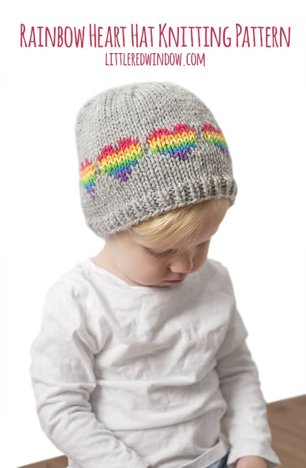 Fair Isle Rainbow Hearts Hat Knitting Pattern for newborns, babies and toddlers! | littleredwindow.com