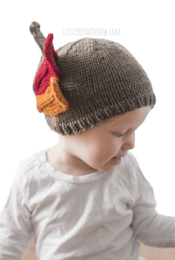 Thanksgiving Turkey Hat Knitting Pattern for newborns, babies and toddlers! | littleredwindow.com