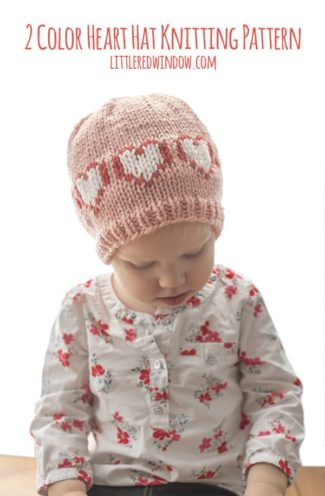 2 Color Heart Hat Knitting Pattern