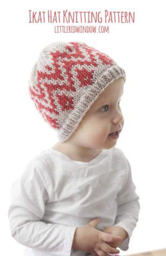 Ikat Hat Knitting Pattern for newborns, babies and toddlers! | littleredwindow.com