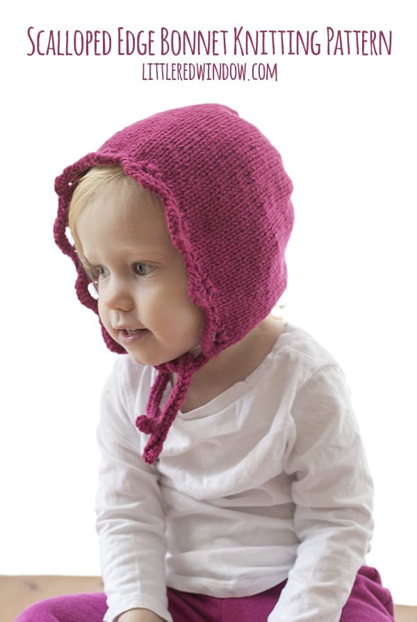 Scalloped Edge Bonnet Knitting Pattern for newborn, baby and toddler! | littleredwindow.com