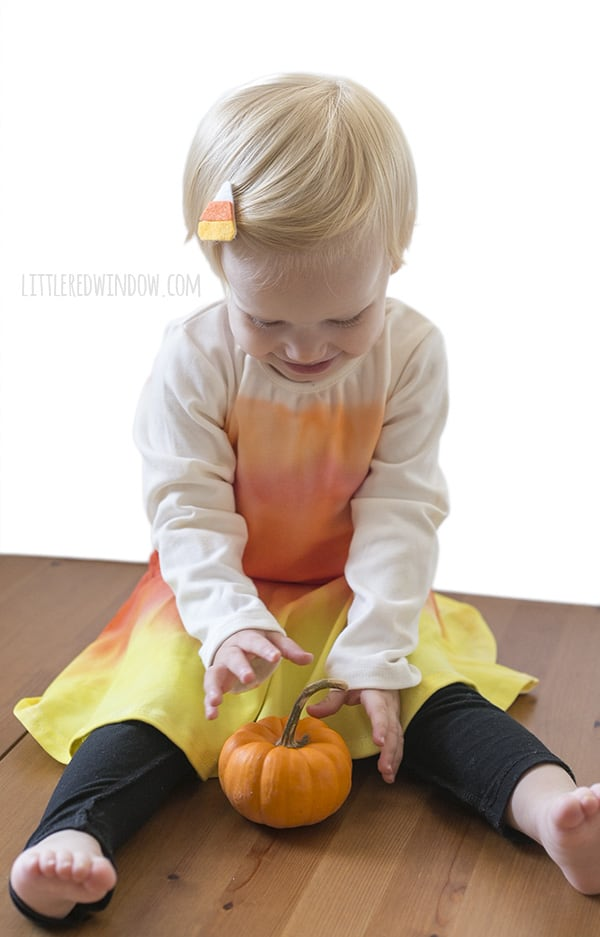 DIY Candy Corn Costume and Candy Corn hair clip, perfect easy costume for Halloween! | littleredwindow.com