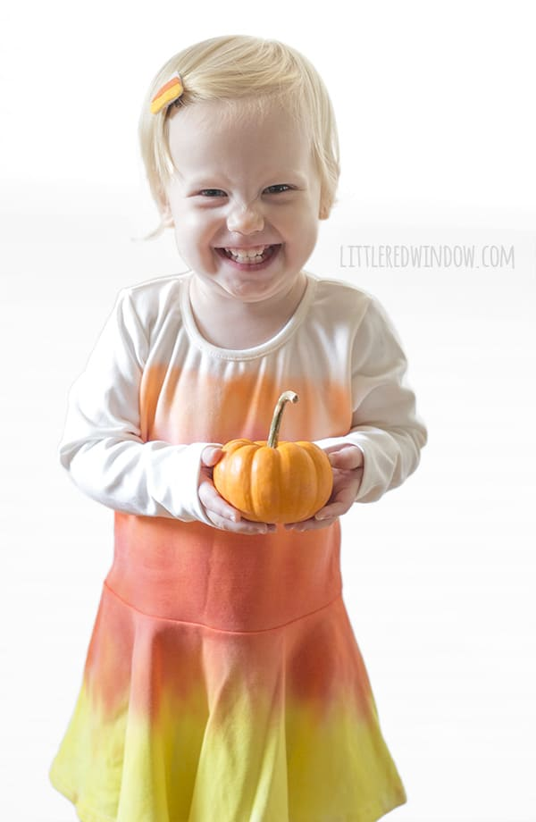 DIY Candy Corn Costume and Candy Corn hair clip, perfect easy costume for Halloween!   littleredwindow.com