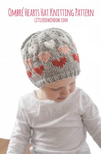 Fair Isle Ombré Heart Hat Knitting Pattern