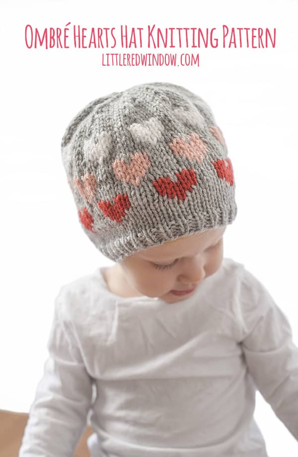 Ombré Heart Hat Knitting Pattern for newborns, babies and toddlers! | littleredwindow.com