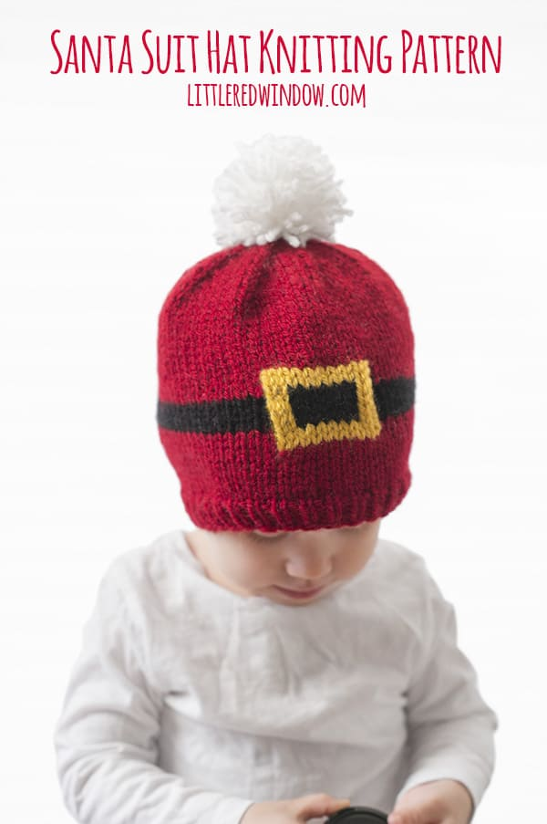 Santa Suit Hat Knitting Pattern for newborns, babies and toddlers! | littleredwindow.com