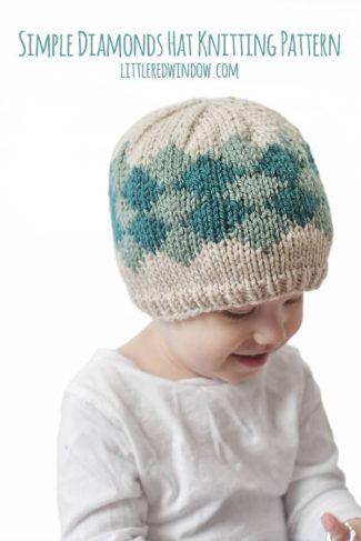 Simple Diamond Hat Knitting Pattern