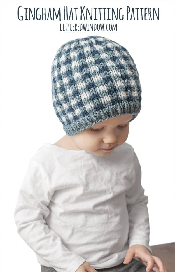 Gingham Hat Knitting Pattern, adorable for newborns, babies and toddlers! | littleredwindow.com