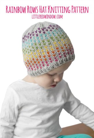 Rainbow Row Hat Knitting Pattern for newborns, babies & toddlers!